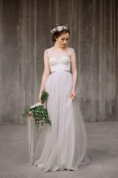 Light Grey A-line Tulle Spaghetti Straps Lace Top Beach Wedding Dresses PW198