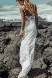 A-Line Lace Spaghetti Straps Backless Sweetheart Beach Wedding Dresses PW199