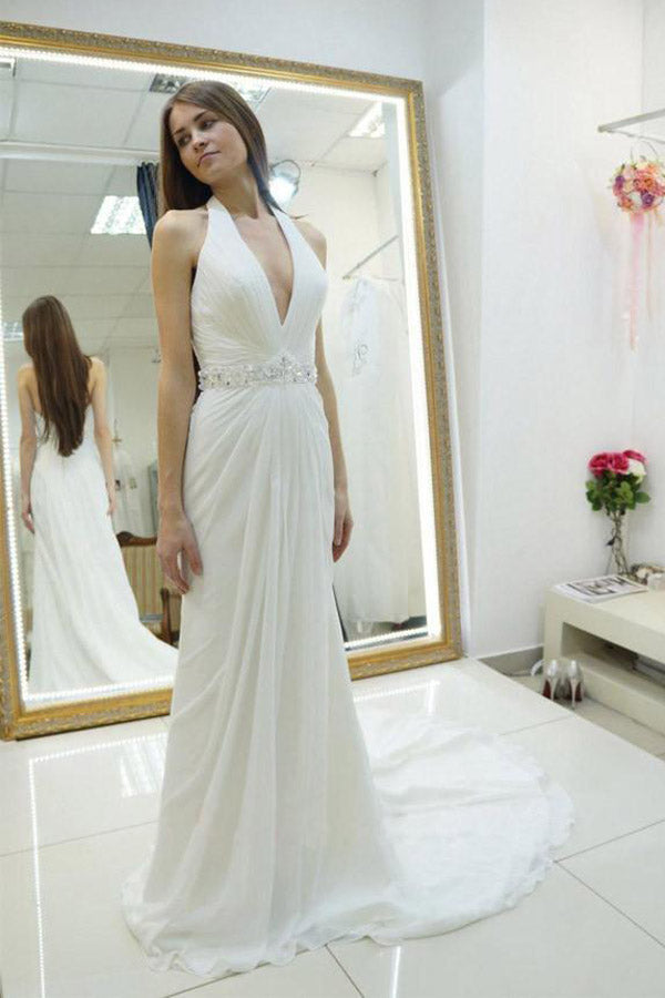Chiffon Sheath Halter Backless Beaded Wedding Dress With Sweep Train PW202