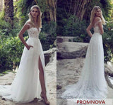 Boho Off Shoulder Lace Cap Sleeves Beach Wedding Dress with Slit at promnova.com