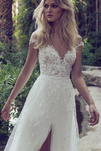 Boho Off Shoulder Lace Cap Sleeves Beach Wedding Dress with Slit PW204