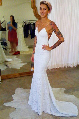 Elegant Lace Mermaid Cheap Spaghetti Strap Long Wedding Dresses PW205
