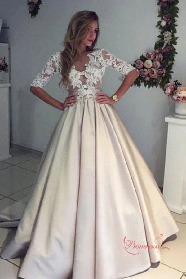 New Arrival Lace Top Half Sleeves Soft Simple Wedding Dress PW206 | Satin wedding dresses | wedding gowns | wedding dresses with sleeves | lace wedding dresses | Promnova.com