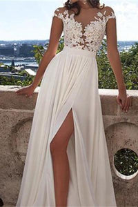 Chiffon Cheap Top lace Side Slit Wedding Dress with Appliques PW207