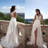 Chiffon Cheap Top lace Side Slit Wedding Dress with Appliques at promnova.com