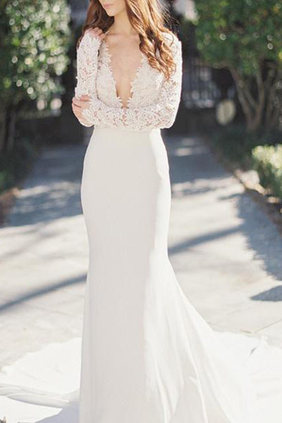 Fabulous Deep V-Neck Lace Top Mermaid Long Sleeve Wedding Dress PW208