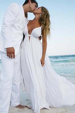 Cheap Simple Chiffon Formal Popular Long Beach Wedding Dresses PW210