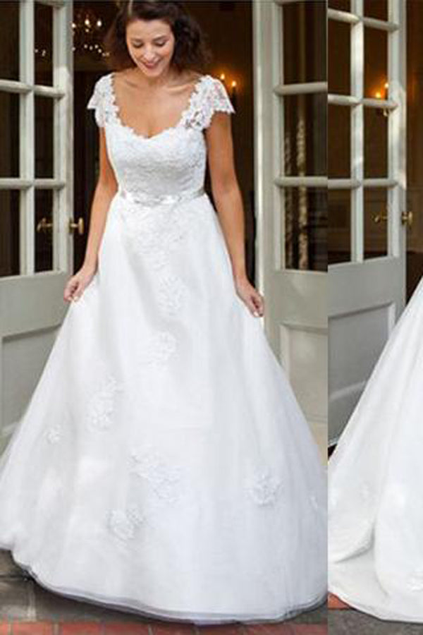 White Cap Sleeve Lace A-line Long Cheap Wedding Dresses with Appliques PW211