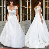 White Cap Sleeve Lace A-line Long Cheap Wedding Dresses with Appliques|promnova.com