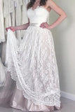Online Cheap Lace A-line Sweetheart Long Wedding Dresses with Appliques PW212