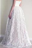 Online Cheap Lace A-line Sweetheart Long Wedding Dresses with Appliques|promnova.com