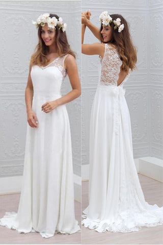 Chiffon Lace Wedding Dresses,Open Back Beach Wedding Dress PW213