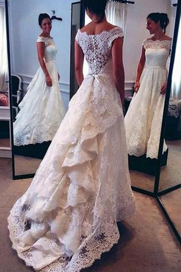 Lace Ivory Vintage Off Shoulder Skirt A-line Wedding Dresses – Promnova