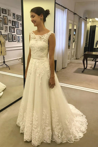 Cheap Lace A Line Ivory Long Beach Wedding Dresses with Belt PW216