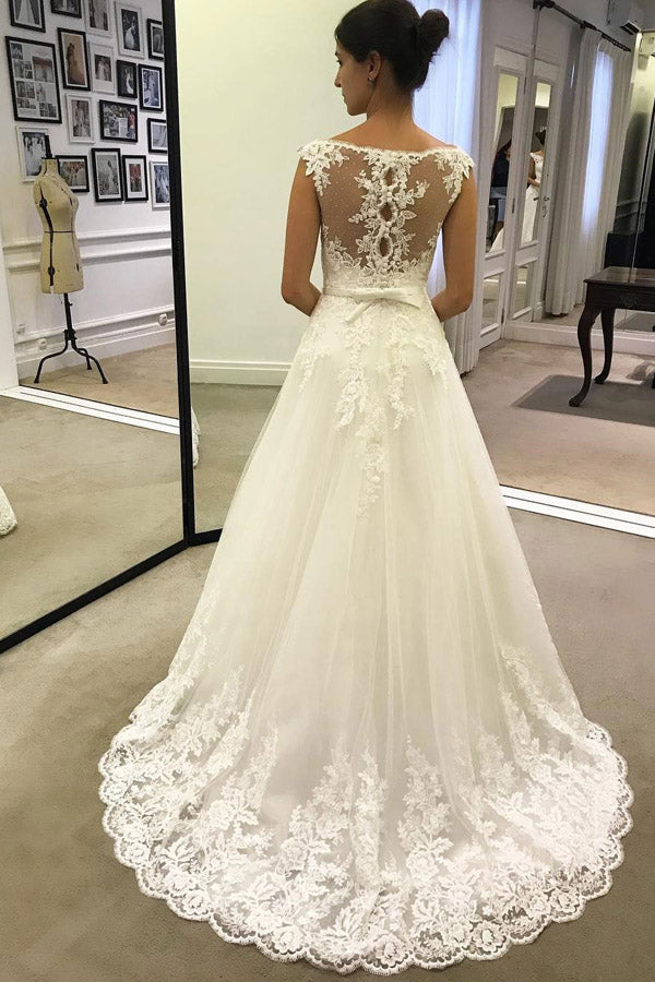 promnova.com|Cheap Lace A Line Ivory Long Beach Wedding Dresses with Belt