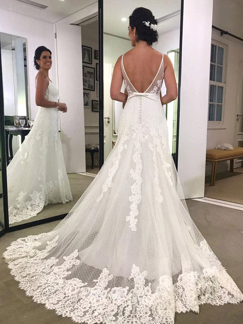 Printed Backless Lace Spaghetti Strap Beach Wedding Dresses, Bridal Gown PW217