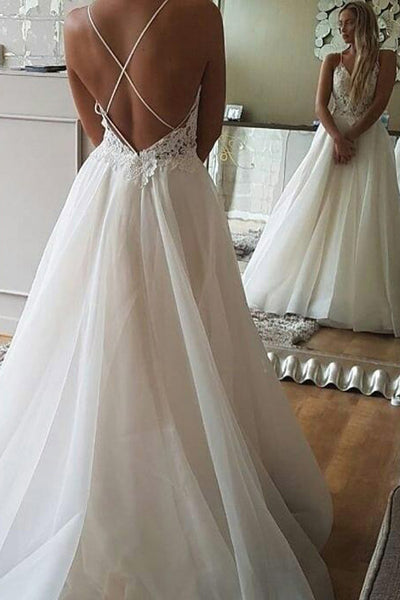 Cheap A-line Spaghetti Strap Lace Backless Beach Wedding Dresses PW218