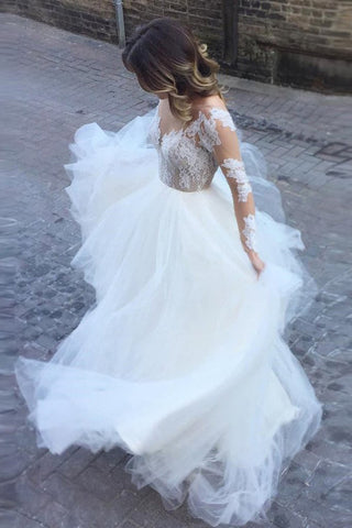Fantastic Long Sleeves Ball Gown Ivory Tulle Wedding Dress with  Appliques PW219
