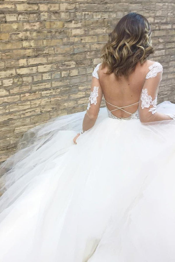 Fantastic Long Sleeves Ball Gown Ivory Tulle Wedding Dress with  Appliques|promnova.com