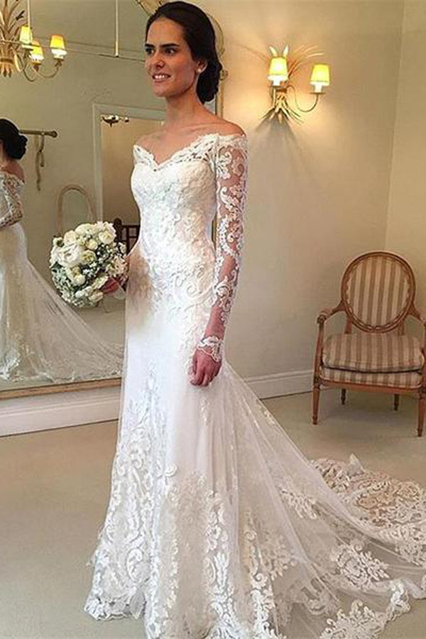 Lace V-Neck Long Sleeve Sweep Train Wedding Dress With Appliques ...