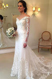 Lace V-Neck Long Sleeve Sweep Train Wedding Dress With Applique PW220