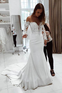 Gorgeous White Scoop Off Shoulder Mermaid Long Wedding Dress PW221