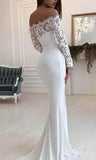 Gorgeous White Scoop Off Shoulder Mermaid Long Wedding Dress|promnova.com