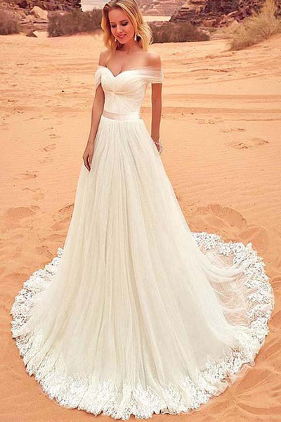 Fabulous Tulle Off Shoulder Wedding Dress With Lace Appliques PW222