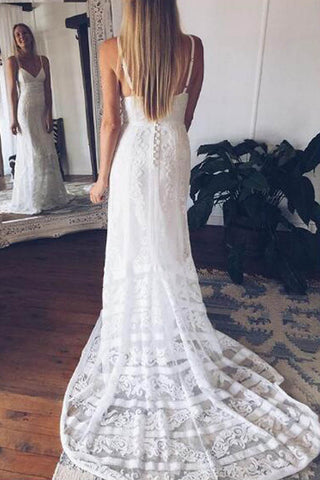 Lace Boho Off Shoulder Backless Lace V-neck Long Wedding Dresses at promnova.com