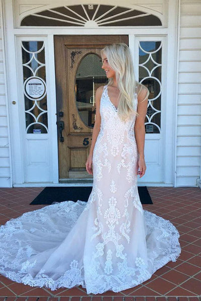 Gorgeous Mermaid V neck Lace Long Wedding Dress with Sweep Train PW225