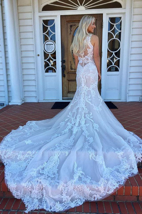 Gorgeous Mermaid V neck Lace Long Wedding Dress with Sweep Train|promnova.com