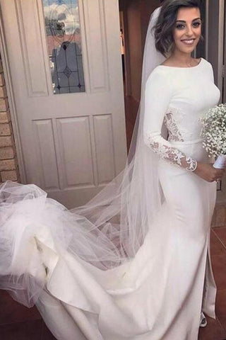 Mermaid Brush Train Long Sleeves Wedding Dresses Backless Slit Bridal Dress PW226