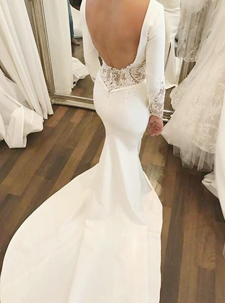 Mermaid Brush Train Long Sleeves Wedding Dresses Backless Slit Bridal Dress