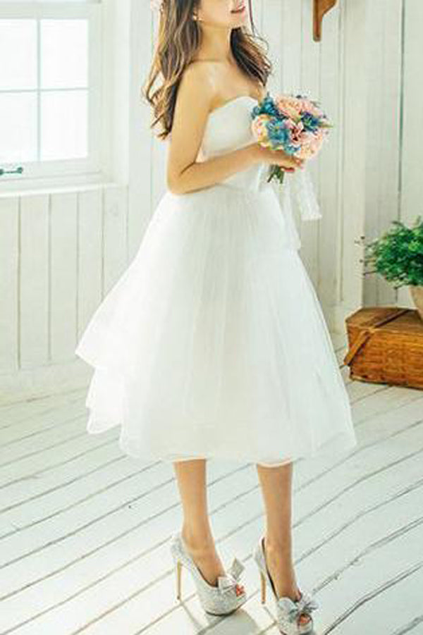 Short A-line Knee-length Ivory Tulle Wedding Dresses Beautiful ...