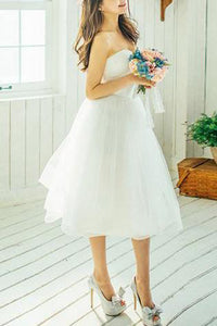 Short  A-line Knee-length Ivory Tulle Wedding Dresses Beautiful Bridal Gown PW227