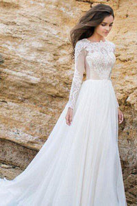 Gorgeous Lace Chiffon A-line Simple Long Sleeves Beach Wedding Dresses PW229