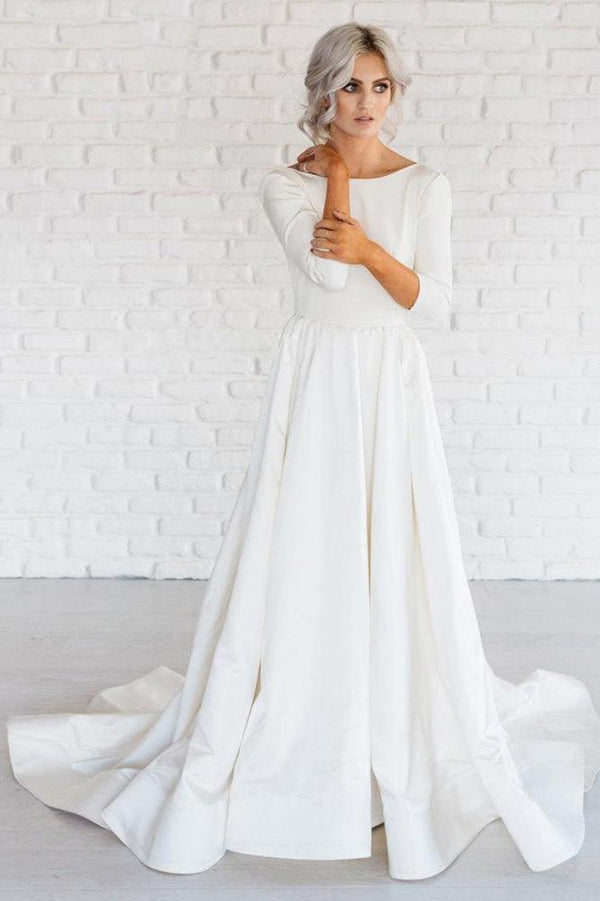 White Simple A Line Satin 34 Sleeve Backless Wedding Dresses With