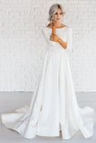 White Simple A-line Satin 3/4 Sleeve Backless Wedding Dresses With Sweep Train PW230