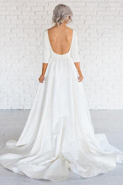 White Simple A-line Satin 3/4 Sleeve Backless Wedding Dresses With Sweep Train from promnova.com