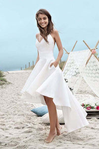 V Neck Spaghetti Straps High Low Wedding Dresses, Homecoming Dress PW231