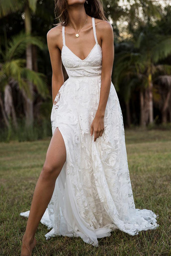 Charming A-line Lace Spaghetti Straps Split Ivory Long Beach Wedding Dress PW232