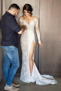 Gorgeous Sheath Column Sweep Brush Wedding Dresses Train Slit Bridal Gown, PW233