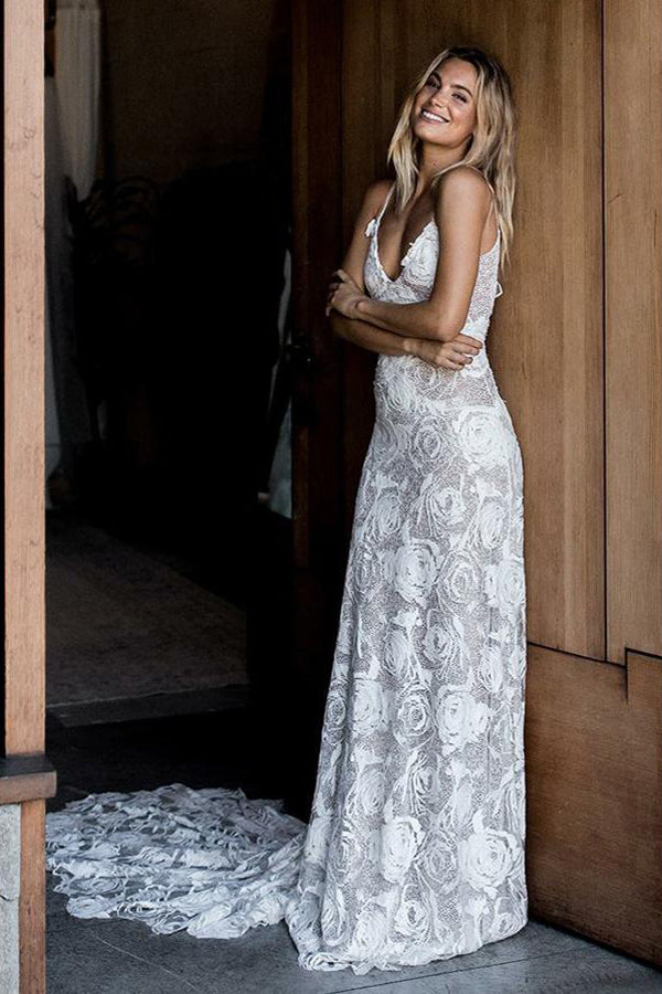 Chic Rose Lace Sheath Column Wedding Dresses Bridal Gown With Sweep