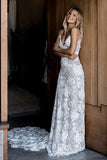 Chic Rose Lace Sheath Column Wedding Dresses Bridal Gown With Sweep Train, PW234