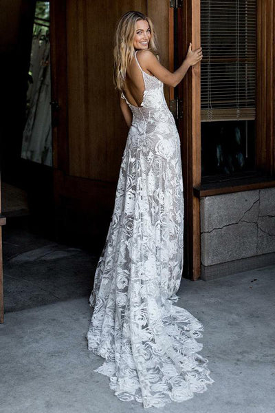 Chic Rose Lace Sheath Column Wedding Dresses Bridal Gown With Sweep Train from promnova.com