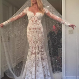Romantic Lace Mermaid Long Appliques Backless Long Sleeves Ivory Wedding Dresses |www.promnova.com