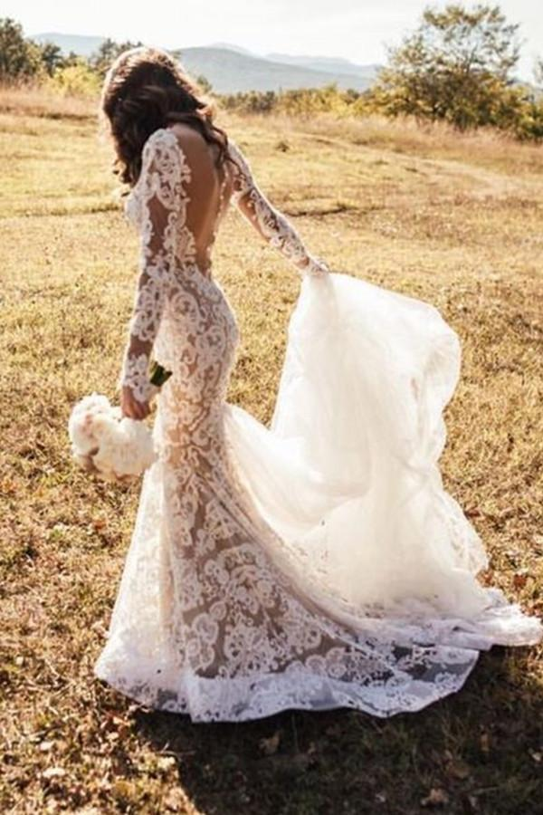 Romantic Lace Mermaid Long Appliques Backless Long Sleeves Ivory Wedding Dresses PW242|promnova.com