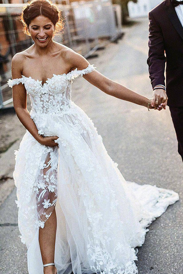 Beautiful Boho Ivory Lace Off-the-Shoulder Beach Wedding Dresses PW259 | boho wedding dresses | lace wedding dresses | cheap wedding dresses | ivory wedding dresses | wedding dresses online | wedding dresses cheap | bridal gowns | promnova.com