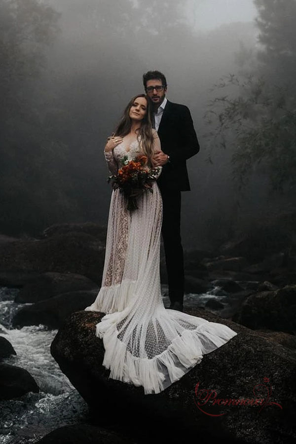 Bohemian Boho Polka Dot Wedding Dresses With Long Sleeves PW260 | boho wedding dresses | lace wedding dresses | long sleeves wedding dresses | wedding dresses near me | wedding dresses online | cheap wedding dresses | promnova.com