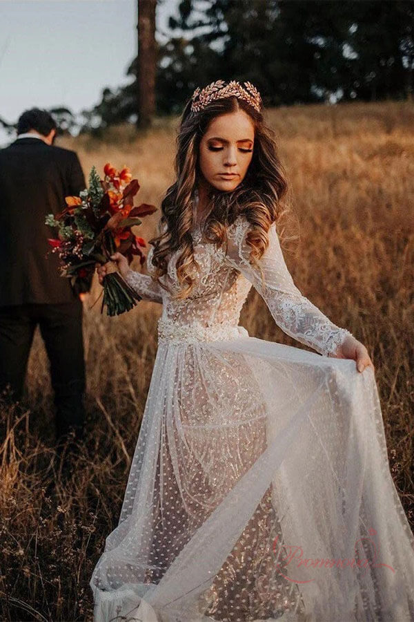 Affordable Bohemian Boho Polka Dot Lace Wedding Dresses With Long Sleeves PW260 | boho wedding dresses | lace wedding dresses | long sleeves wedding dresses | wedding dresses near me | wedding dresses online | cheap wedding dresses | promnova.com